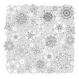 Teste padrão floral monocromático do vetor Imitação da textura tirada mão da garatuja da flor Fotografia de Stock
