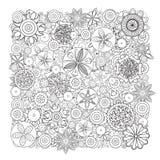 Teste padrão floral monocromático do vetor Imitação da textura tirada mão da garatuja da flor Fotos de Stock