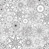 Teste padrão floral monocromático sem emenda do vetor Imitação da garatuja tirada mão da flor Fotos de Stock