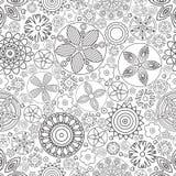 Teste padrão floral monocromático sem emenda do vetor Imitação da garatuja tirada mão da flor Fotografia de Stock Royalty Free