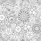 Teste padrão floral monocromático sem emenda do vetor Imitação da garatuja tirada mão da flor Foto de Stock