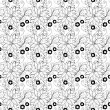 Teste padrão floral monocromático sem emenda (vetor) Imagens de Stock