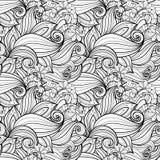 Teste padrão floral monocromático sem emenda (vetor) Fotos de Stock