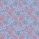 Teste padrão floral na moda no estilo da garatuja com ramos em claro - contexto azul ilustração royalty free
