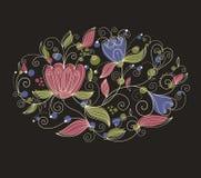 Teste padrão floral oval Fotografia de Stock