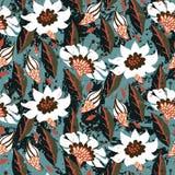 Teste padrão floral pintado à mão do vetor ilustração royalty free
