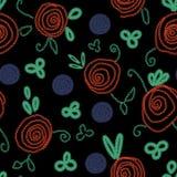 Teste padrão floral popular do vetor sem emenda com rosas emboidered ilustração royalty free