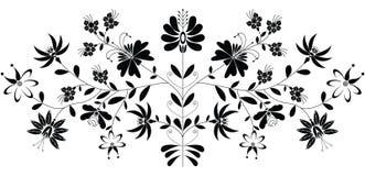 Teste padrão floral popular europeu no preto no fundo branco Imagens de Stock Royalty Free