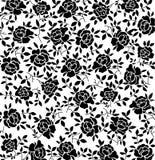 Teste padrão floral preto Fotografia de Stock