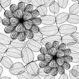 Teste padrão floral preto e branco à moda sem emenda Foto de Stock