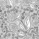 Teste padrão floral preto e branco Imagens de Stock Royalty Free