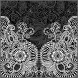 Teste padrão floral preto e branco Imagens de Stock