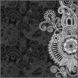Teste padrão floral preto e branco Imagem de Stock Royalty Free