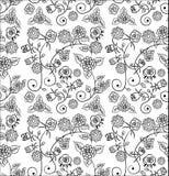 Teste padrão floral preto e branco sem emenda Foto de Stock Royalty Free
