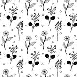 Teste padrão floral preto e branco sem emenda branco ilustração royalty free