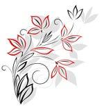 Teste padrão floral preto e vermelho Fotos de Stock Royalty Free