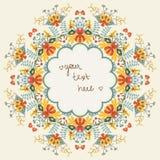 Teste padrão floral redondo decorativo ilustração stock