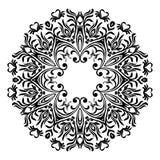 Teste padrão floral redondo decorativo Ornamento com elementos do vintage Guardanapo do laço da mão Vintage elegante bonito guard ilustração stock