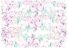 Teste padrão floral romântico da aquarela sem emenda em um fundo branco ilustração stock