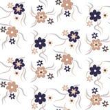 Teste padrão floral sem emenda bege e escuro - cores azuis Fotografia de Stock