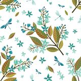 Teste padrão floral sem emenda bonito, ilustração do vetor da flor com miosótis e libélulas Ilustração decorativa t do vetor ilustração stock
