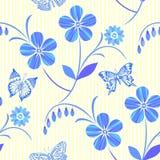 teste padrão floral sem emenda Branco-azul Vetor ilustração royalty free