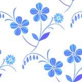 teste padrão floral sem emenda Branco-azul Vetor ilustração stock