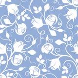 Teste padrão floral sem emenda branco com os botões cor-de-rosa no azul Ilustração do vetor ilustração stock