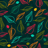 Teste padrão floral sem emenda brilhante com folhas ilustração royalty free