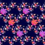 Teste padrão floral sem emenda brilhante com papoilas, rosas, margaridas, sino e flores do cosmos no estilo da aquarela em escuro ilustração royalty free