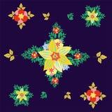 Teste padrão floral sem emenda colorido Rhombic Modele flores com folhas em um fundo ultravioleta Ilustração do vetor Fotografia de Stock