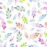Teste padrão floral sem emenda com as folhas coloridas brilhantes da aquarela nos ramos Foto de Stock
