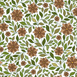 Teste padrão floral sem emenda com as plantas coloridas da fantasia e Imagens de Stock Royalty Free