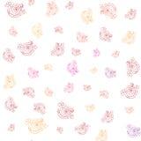 Teste padrão floral sem emenda com elementos handdrawn no fundo branco Fotos de Stock Royalty Free
