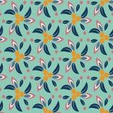 Teste padrão floral sem emenda com fundo de turquesa Imagens de Stock Royalty Free