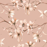 Teste padrão floral sem emenda com magnólias em um fundo bege, aquarela Imagem de Stock