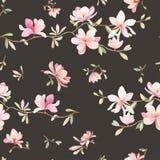 Teste padrão floral sem emenda com magnólias em um fundo escuro, aquarela Imagens de Stock