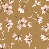 Teste padrão floral sem emenda com magnólias em um fundo marrom, aquarela Fotos de Stock