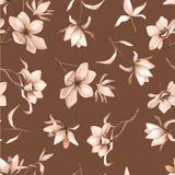 Teste padrão floral sem emenda com magnólias em um fundo marrom, aquarela Foto de Stock Royalty Free