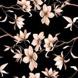 Teste padrão floral sem emenda com magnólias em um fundo preto, aquarela Imagem de Stock Royalty Free