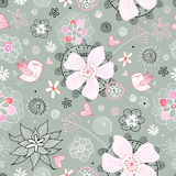 Teste padrão floral sem emenda com pássaros Imagens de Stock Royalty Free