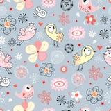 Teste padrão floral sem emenda com pássaros alegres ilustração stock