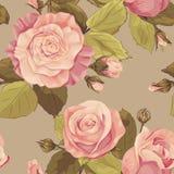 Teste padrão floral sem emenda com rosas e leaves_pastel de florescência co ilustração stock