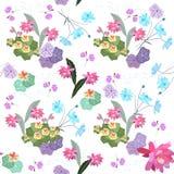 Teste padrão floral sem emenda de Ditsy Chagas, prímula, flores do cosmos e do epiphillum e notas musicais abstratas ilustração royalty free
