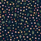 Teste padrão floral sem emenda de Ditsy com as flores selvagens e as folhas coloridas no fundo preto Ilustra??o bonita do vetor ilustração stock