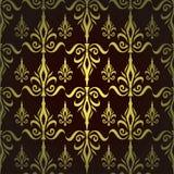 Teste padrão floral sem emenda do damasco. Papel de parede real. Flores e coroas em um fundo escuro Imagens de Stock Royalty Free