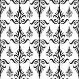 Teste padrão floral sem emenda do damasco. Papel de parede real. Flores e coroas no preto no fundo branco Imagem de Stock