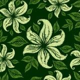 Teste padrão floral sem emenda do grunge do vetor com lillies Fotografia de Stock