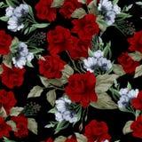 Teste padrão floral sem emenda do vetor com rosas vermelhas ilustração do vetor