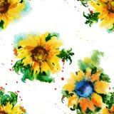 Teste padrão floral sem emenda Girassóis watercolor Fotografia de Stock